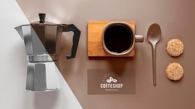 コーヒーブランディングアイテム配置上面図 無料 Psd