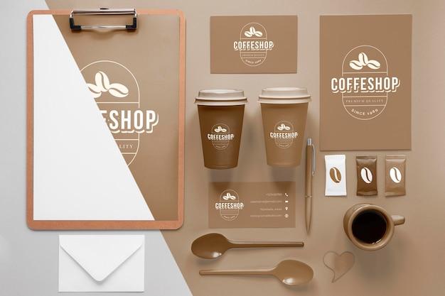 커피 브랜딩 아이템 배치 무료 PSD 파일