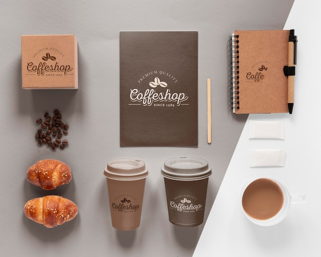 コーヒーブランディングアイテムの品揃え上面図 無料 Psd