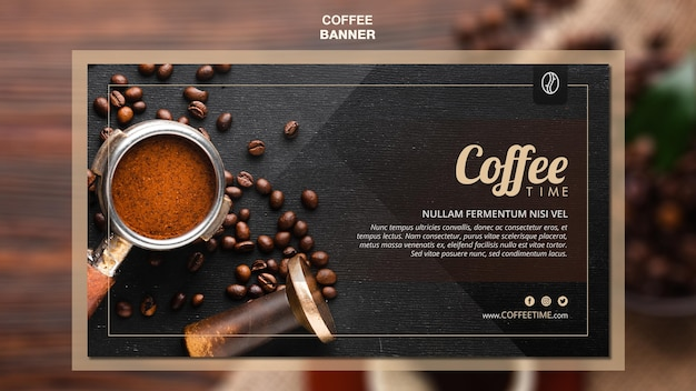 Coffee concept banner template Free Psd