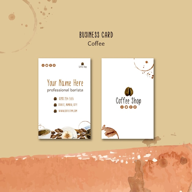 Coffee concept for business card template Free Psd