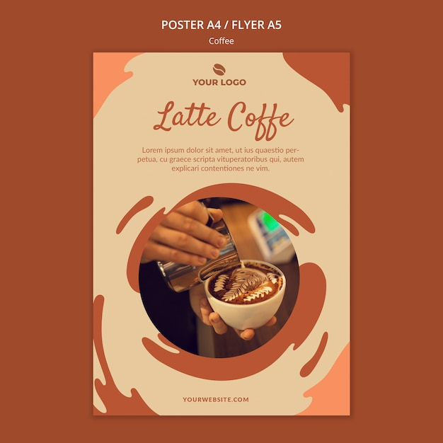 Coffee concept flyer mock-up Free Psd