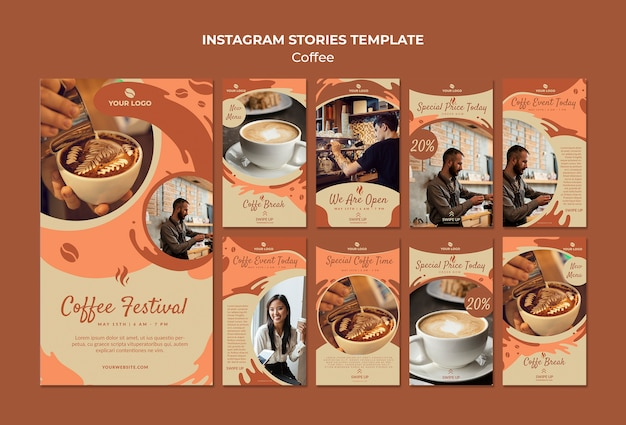 Coffee concept instagram stories template mock-up Free Psd