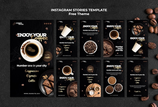 Coffee concept instagram stories template Free Psd