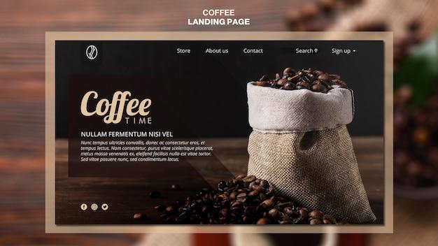 커피 개념 방문 페이지 템플릿 무료 PSD 파일