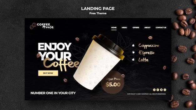 コーヒーコンセプトランディングページテンプレート 無料 Psd