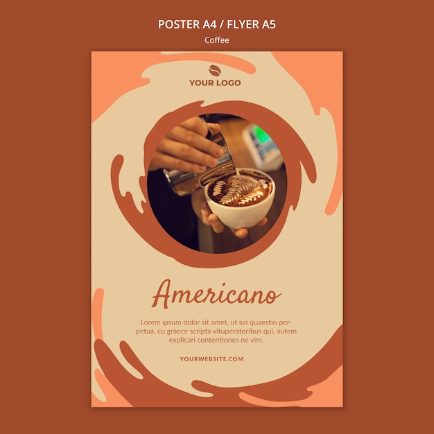 Coffee concept poster mock-up Premium Psd