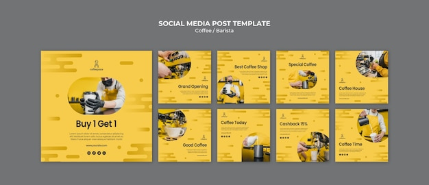 Coffee concept social media post template Free Psd