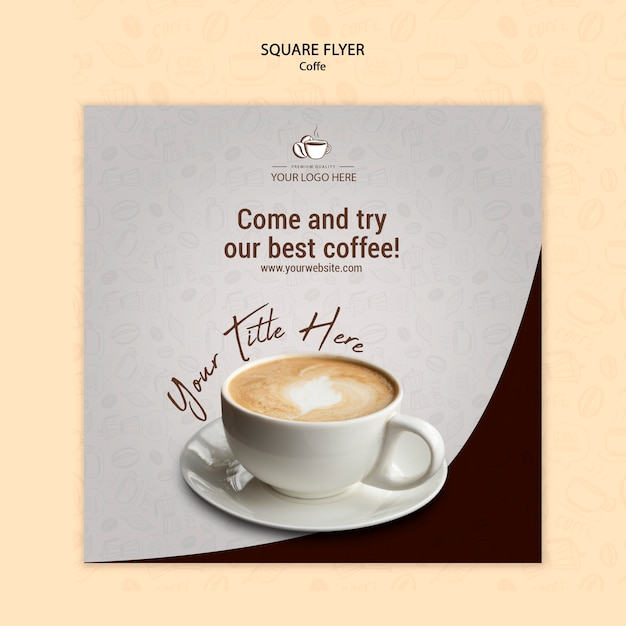 コーヒーコンセプトスクエアチラシデザイン 無料 Psd