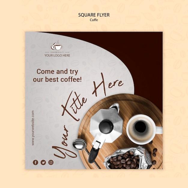 Кофейная концепция квадратный стиль флаера Бесплатные Psd