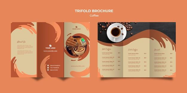 커피 개념 trifold 브로셔 모형 무료 PSD 파일