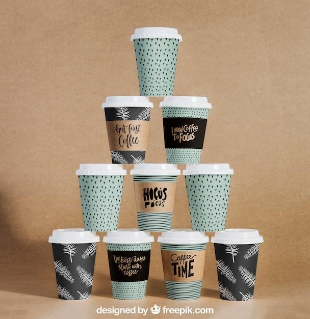 Coffee cup pyramid mockup Free Psd