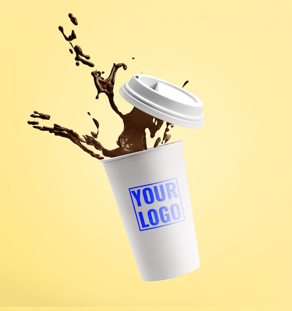 Кофе макет брызги макет шаблона Premium Psd