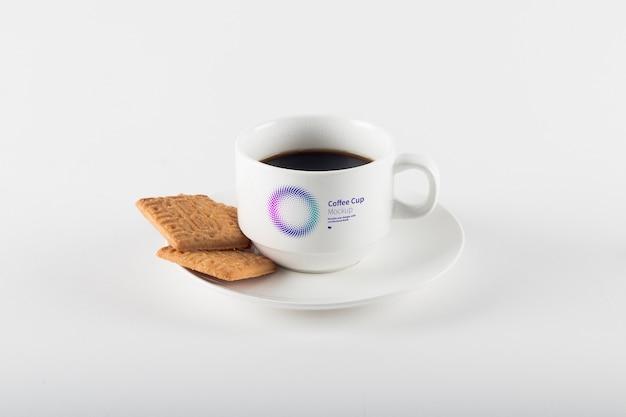 쿠키 모형과 커피 컵 프리미엄 PSD 파일