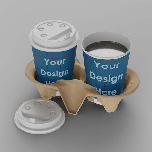 절연 홀더 이랑 커피 컵 프리미엄 PSD 파일
