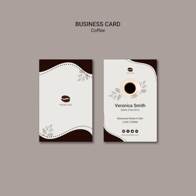 Coffee drink business card template Free Psd