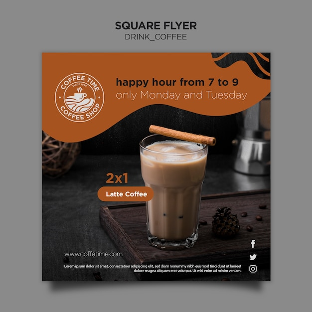 Coffee flyer template Free Psd