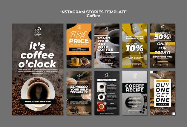 Coffee instagram stories template Free Psd