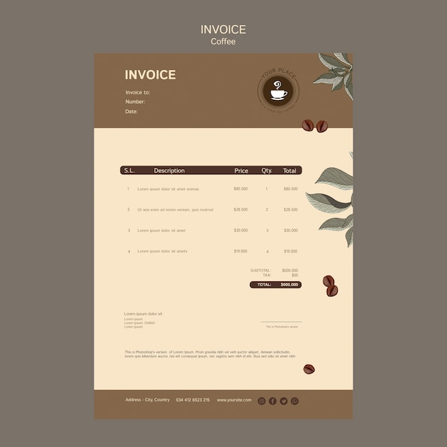 Coffee invoice template Free Psd