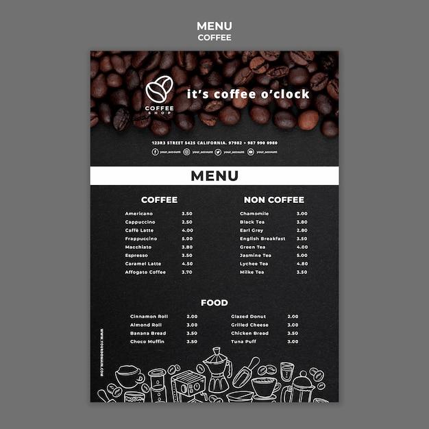 Modello di menu del caffè Psd Gratuite