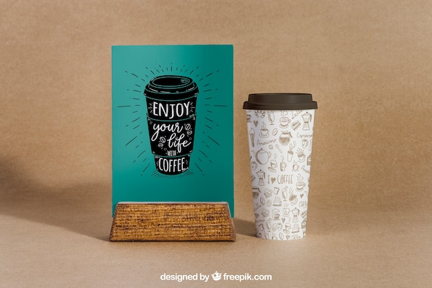Coffee mockup with large cup Free Psd