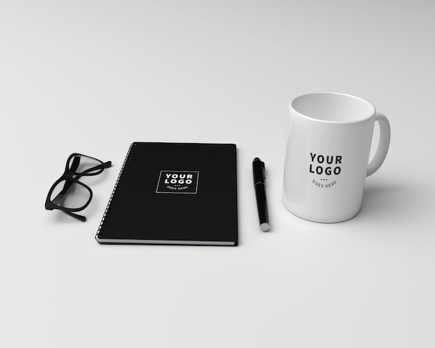 Coffee mug with block note mockup Premium Psd
