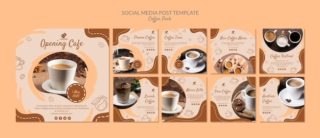 게시물 템플릿-커피 팩 소셜 미디어 무료 PSD 파일