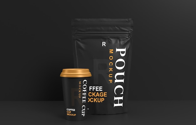 Coffee packaging sachet and coffee cup mockup design Premium Psd