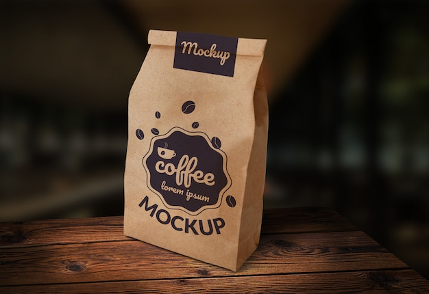 Coffee paper bag mock-up wood background Premium Psd