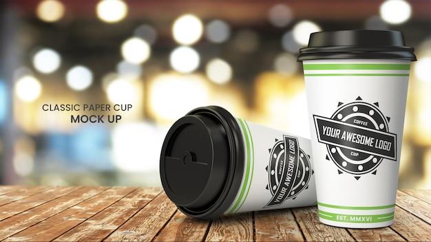 木製cafetable、psdモックアップにコーヒー紙コップのモックアップ Premium Psd