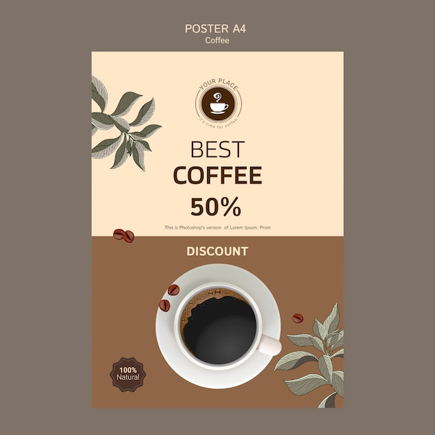 Coffee poster template with discount Free Psd
