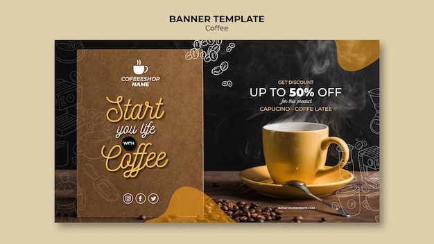 Coffee promotion banner template Free Psd