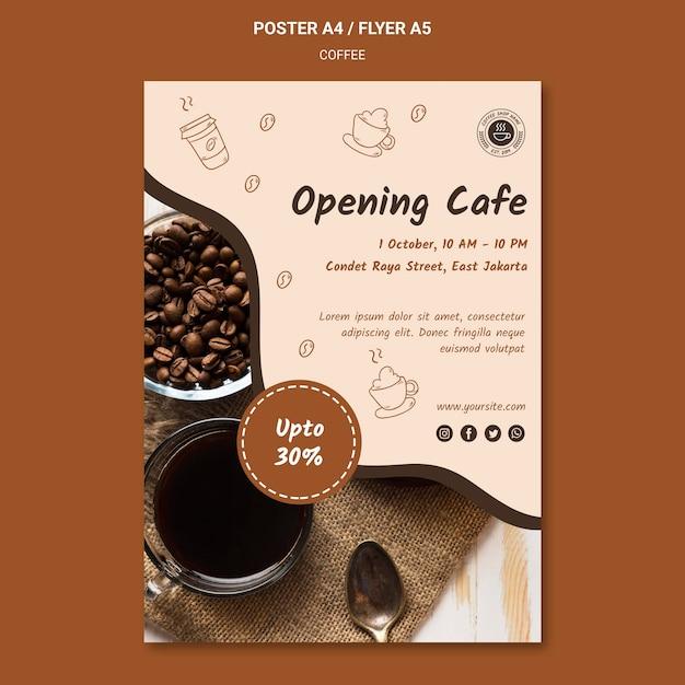 Шаблон рекламного плаката кофейни Бесплатные Psd