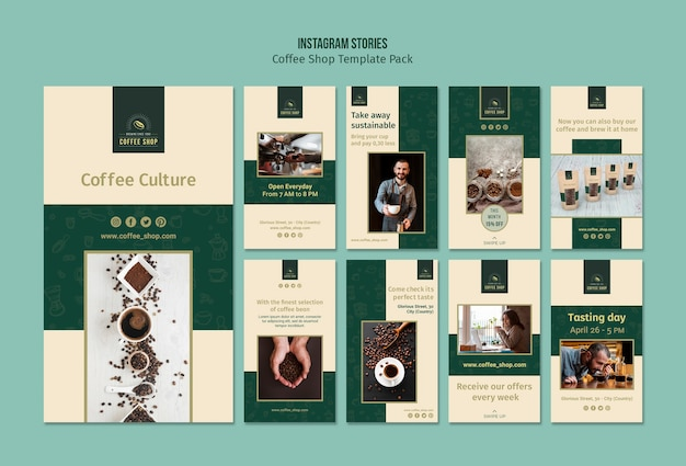 Coffee shop banner instagram stories pack Free Psd