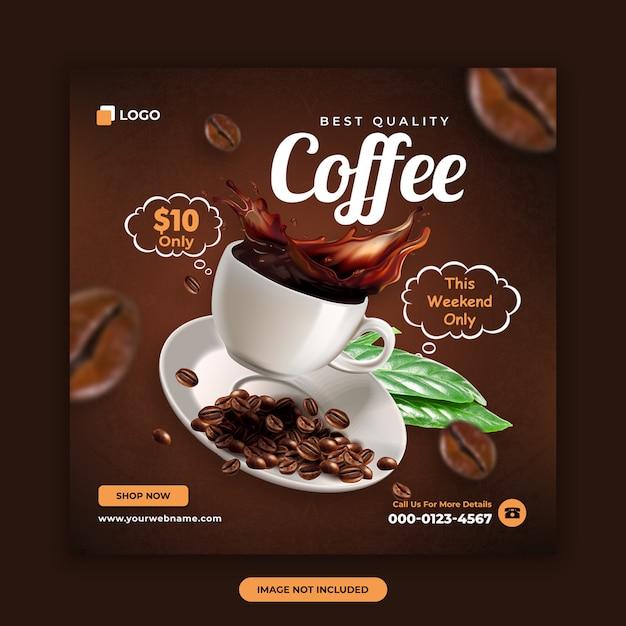 Coffee shop banner template Premium Psd