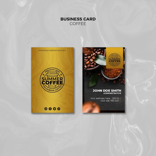 Coffee shop business card pack template Free Psd