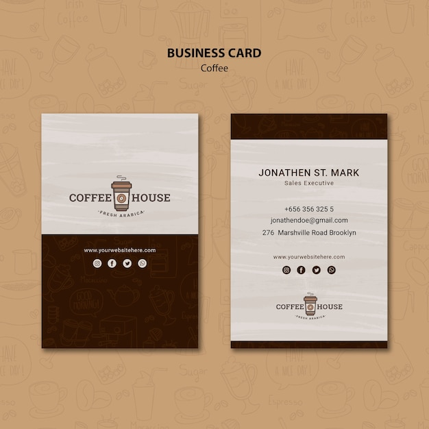 Coffee shop business card template with hand drawn elements Free Psd
