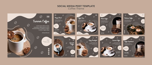 Coffee shop concept social media post template Free Psd