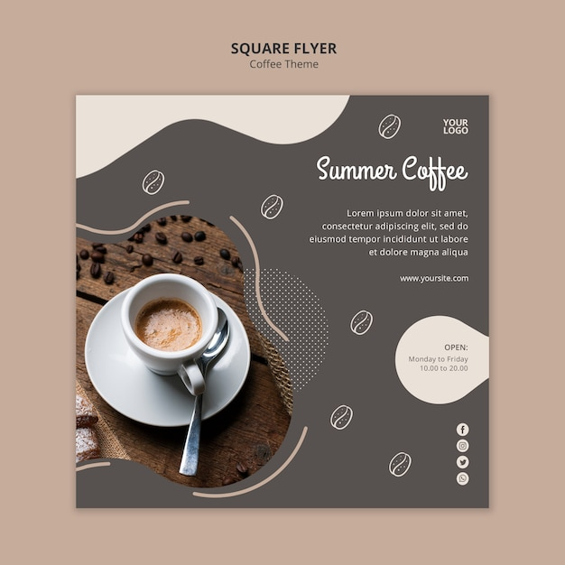 Coffee shop concept square flyer template Free Psd