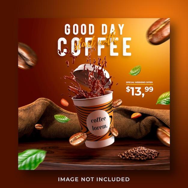 Кофейня продвижение меню напитков в социальных сетях instagram пост баннер шаблон Premium Psd