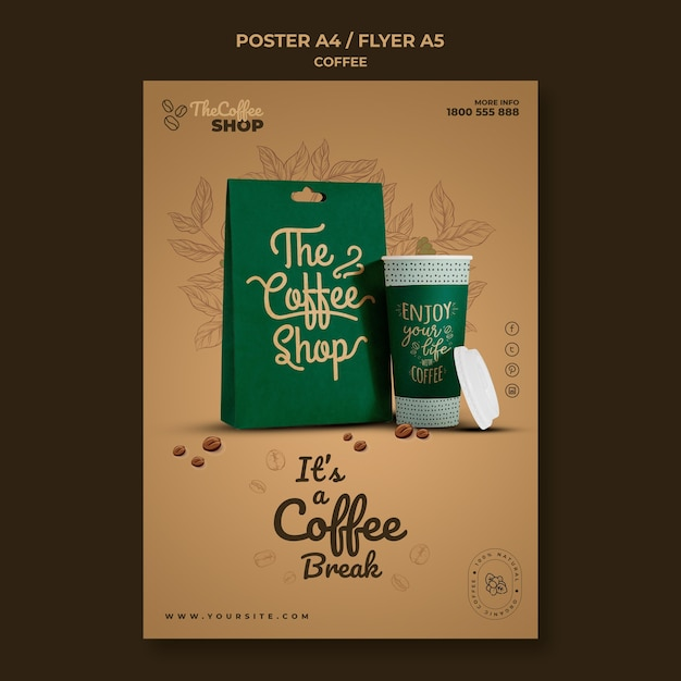커피 숍 전단지 서식 파일 무료 PSD 파일
