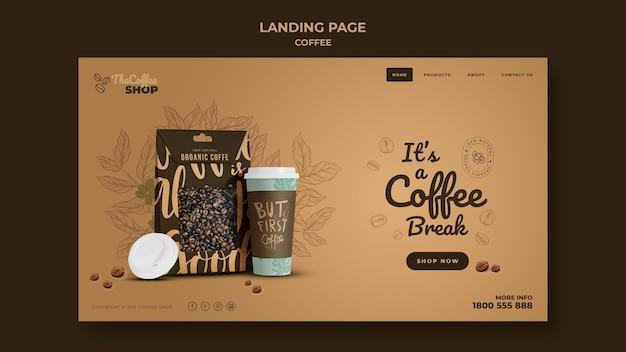 커피 숍 방문 페이지 템플릿 프리미엄 PSD 파일