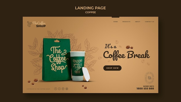 Coffee shop landing page template Free Psd