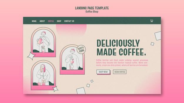 커피 숍 방문 페이지 무료 PSD 파일