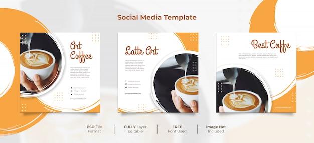 Coffee shop latte art brush style social media post Premium Psd