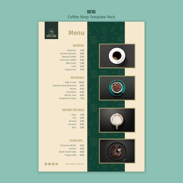 Пакет шаблонов меню кафе Бесплатные Psd