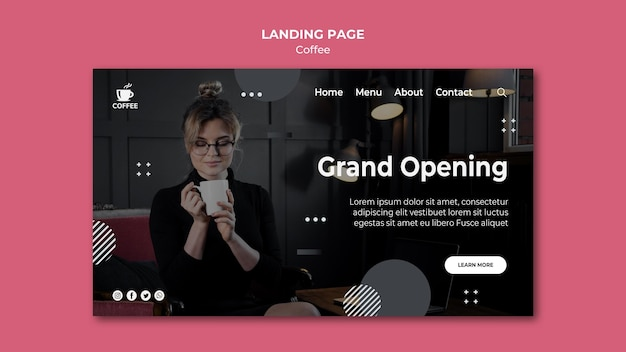 Coffee shop opening landing page Free Psd