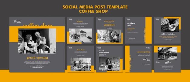 Post sui social media della caffetteria Psd Gratuite