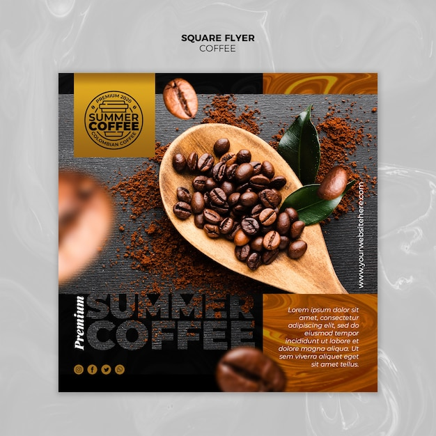 Coffee shop square flyer template Free Psd