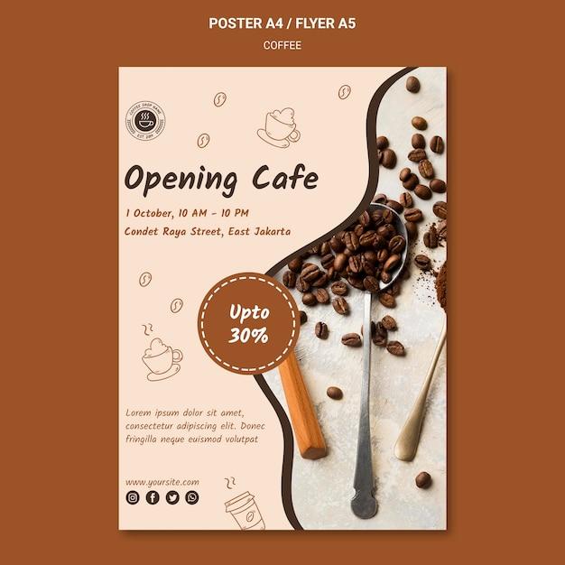 Кофейня шаблон плаката Бесплатные Psd